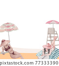 Beach vacation frame watercolor 77333390