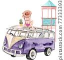 Beach vacation watercolor 77333393