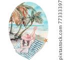Beach vacation watercolor 77333397