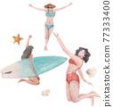Beach vacation watercolor 77333400