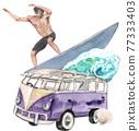 Beach vacation watercolor 77333403