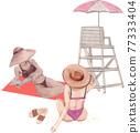 Beach vacation watercolor 77333404