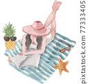 Beach vacation watercolor 77333405