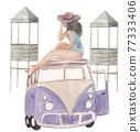 Beach vacation watercolor 77333406