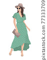 Women on high heels dressed in stylish trendy clothes - female fashion illustration 77333709