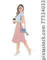 Women on high heels dressed in stylish trendy clothes - female fashion illustration 77334033