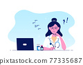 Woman doctor sitting at the table in the office. 77335687
