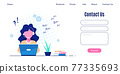 Contact Us web page design template in flat style 77335693