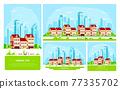 Urban landscape illustration, flat style banner design 77335702