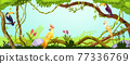 Jungle forest background, nature green wood landscape, toucan, parrot, liana, tree branches, stone 77336769