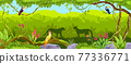 Jungle vector forest background, exotic nature wood thicket landscape, leopard, toucan, parrot, rock 77336771
