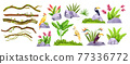 Jungle stone vector object set, exotic plants, liana collection, tropical flowers, parrot, toucan 77336772