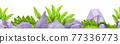 Stone rock vector seamless border, jungle boulders gray frame, green tropical leaves, bushes 77336773