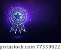 Futuristic glowing low polygonal best quality award badge concept 77339622