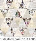 Newspaper paper grunge newsprint patchwork seamless pattern background 77341705