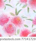 Watercolor pink peonies flowers. Beautiful floral seamless pattern. 77341729