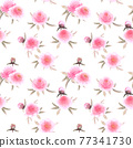 Watercolor pink peonies flowers. Beautiful floral seamless pattern. 77341730