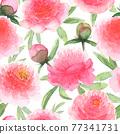 Watercolor pink peonies flowers. Beautiful floral seamless pattern. 77341731