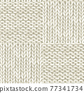 Natural white patchwork checkered realistic knitted seamless pattern 77341734