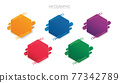 colorful hexagon infographic vector template with 5 options. Can be used for web, diagram, graph, presentation, chart, report, step by step infographics. Abstract background 77342789