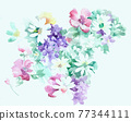 Colorful floral material combinations and design elements 77344111