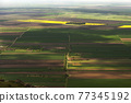 Aerial View Of Yellow And Green Rape Fields in Romania 77345192