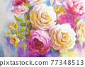 Peonies and roses bouquet. Artistic sketch etude. 77348513