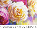 Peonies and roses bouquet. Artistic sketch etude. 77348516