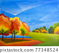 Abstract landscape. Autumn trees. Abstract oil painting. 77348524