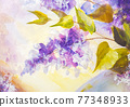 Lilacs in a Vase, oil painting on canvas 77348933