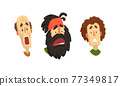 Man Head Showing Facial Expression with Raised Eyebrows and Open Mouth Vector Set 77349817