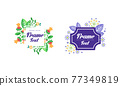 Shaped Frames with Floral Decoration for Greeting and Invitation Card Design Vector Set 77349819