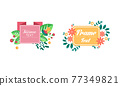 Shaped Frames with Floral Decoration for Greeting and Invitation Card Design Vector Set 77349821