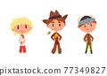 Kids Wearing Traditional Cowboy and Scandinavian Costume Vector Set 77349827