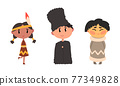Kids Wearing Traditional American Indian and Caucasian Costume Vector Set 77349828
