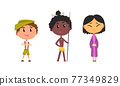 Kids Wearing Traditional African Aboriginal and Japanese Costume Vector Set 77349829