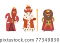 Bearded Kings Wearing Crowns and Mantles Holding Sceptre Vector Set 77349830