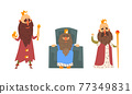 Bearded Kings Wearing Crowns and Mantles Holding Sceptre Vector Set 77349831