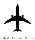 Silhouette of black and white aircraft in the sky, isolated. Vector Illustration 77350012