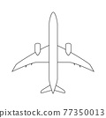 Silhouette of black and white aircraft in the sky, isolated. Vector Illustration 77350013