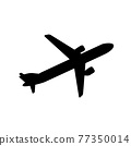 Silhouette of black and white aircraft in the sky, isolated. Vector Illustration 77350014