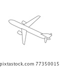 Silhouette of black and white aircraft in the sky, isolated. Vector Illustration 77350015