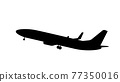 Silhouette of black and white aircraft in the sky, isolated. Vector Illustration 77350016