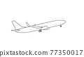 Silhouette of black and white aircraft in the sky, isolated. Vector Illustration 77350017