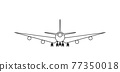 Silhouette of black and white aircraft in the sky, isolated. Vector Illustration 77350018