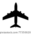 Silhouette of black and white aircraft in the sky, isolated. Vector Illustration 77350020