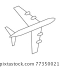 Silhouette of black and white aircraft in the sky, isolated. Vector Illustration 77350021