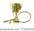 Tennis championship trophy. Golden champion cup isolated on white background. Sport award. Victory concept. Tennis ball with a racket, medals and cup 77350436
