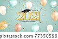 Graduation class of 2021 with graduation cap hat and confetti. Vector Illustration 77350599