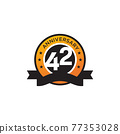 42th year anniversary logo design template 77353028